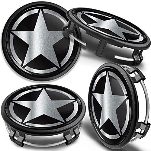 SkinoEu 4 x 75mm Tapas de Rueda de Centro Centrales Llantas Aluminio Compatibles con Tapacubos Mercedes Benz B66470207 / B66470200 US Army Star Estrella Plata CM 43