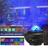 LED Sternenhimmel Projektor, Amouhom Ozeanwellen Projektor mit Fernbedienung/Bluetooth 5.0/360°Drehen /3 Helligkeitsstufen Beste Geschenke für Party Weihnachten Ostern Weihnachten(Schwarz)