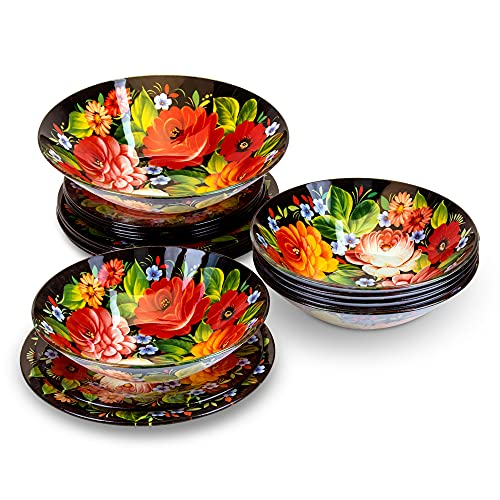 Juego de vajilla de cristal para 6 personas, 19 piezas, diseño de Rusia, pintura Chochloma, 6 platos hondos, 6 platos de postre, 1 ensaladera (Zhostovo)