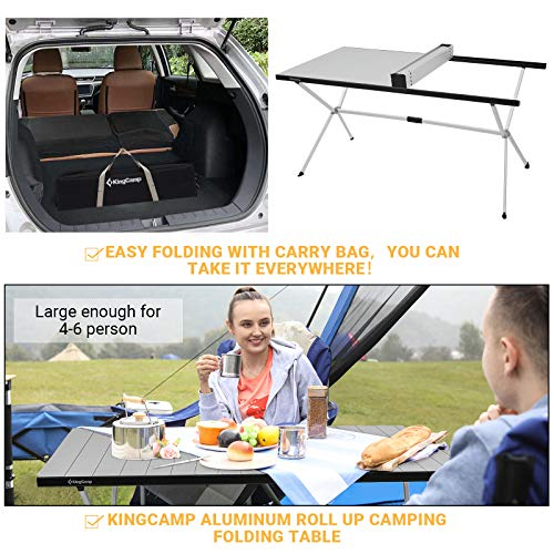 KingCamp Folding Camping Table Roll Up Aluminum Alloy Table-top Porable Sturdy Table Collapsible Support Up to 80KG(Desktop 120×80cm