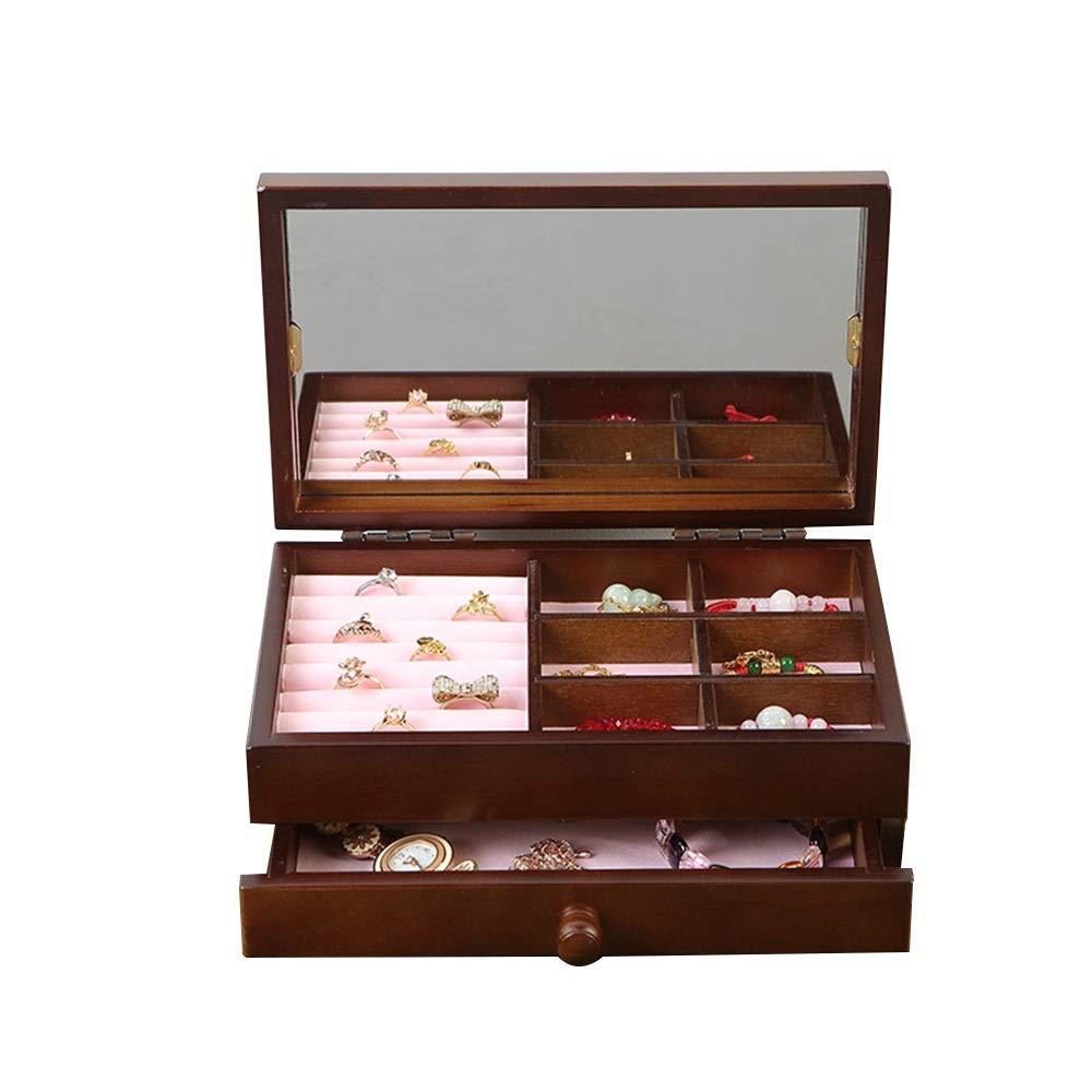 Caja de joyería para mujer Sencillo joyero de lana de 2 capas para collar Anillos Pendientes Almacenamiento Relojes Regalo de época para niñas mujeres caja de almacenamiento de joyería de collar, caja:
