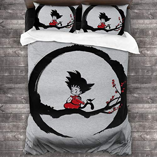 KUKHKU Young Goku Under The Moon Dragon Ball Z 3 Pieces Bedding Set Duvet Cover 86x70 inch, Decorative 3 Piece Bedding Set With 2 Pillow Shams