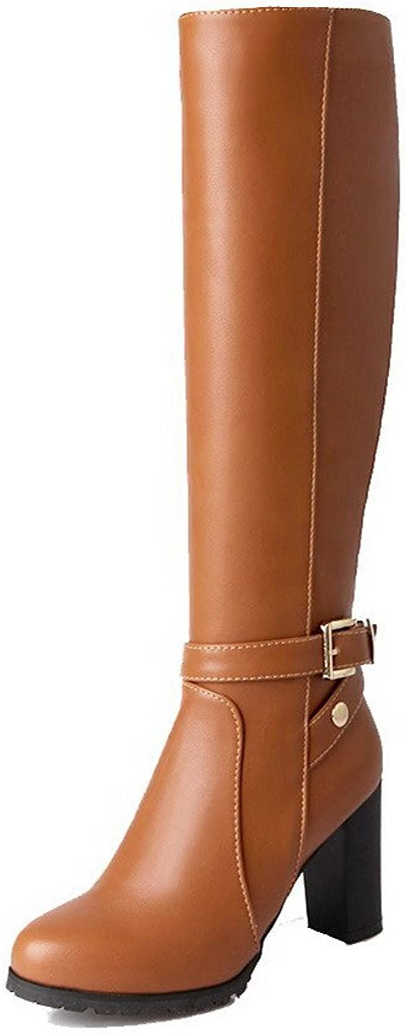 WeenFashion Women's Soft Material Round Closed Toe Solid High-top High-Heels Boots