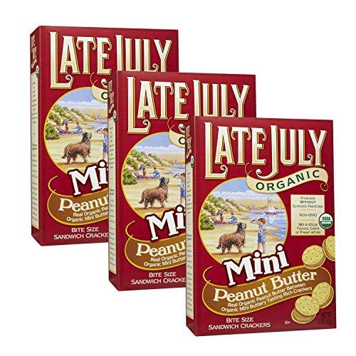 Late July Organic Non-GMO Mini Peanut Butter Sandwich Crackers - Pack of 3, 5 Oz. Ea.