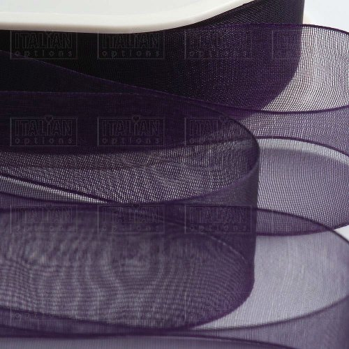 Organza Woven Edge Tying Ribbon by Italian Options (15mmx 20m) - Aubergine