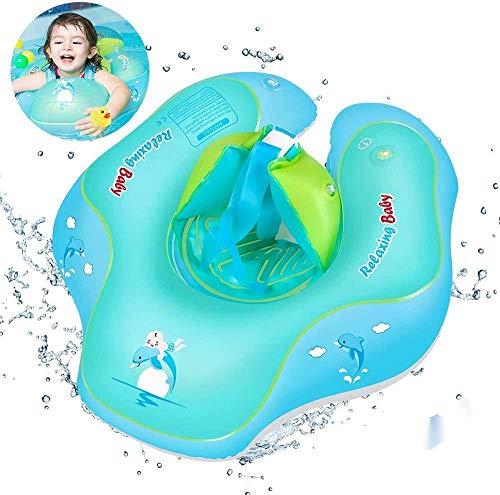 Anillo de natación para bebé, natación ajustable inflable, anillo de natación para niños, con bomba de entrenamiento, para niños de 6 a 30 meses