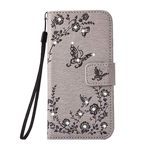 Alfort Galaxy A3 2017 Hülle, Galaxy A3 2017 Schutzhülle, Lederhülle PU Leder Tasche Cover Wallet Hülle für Galaxy A3 2017 Smartphone Schmetterling (Grau)