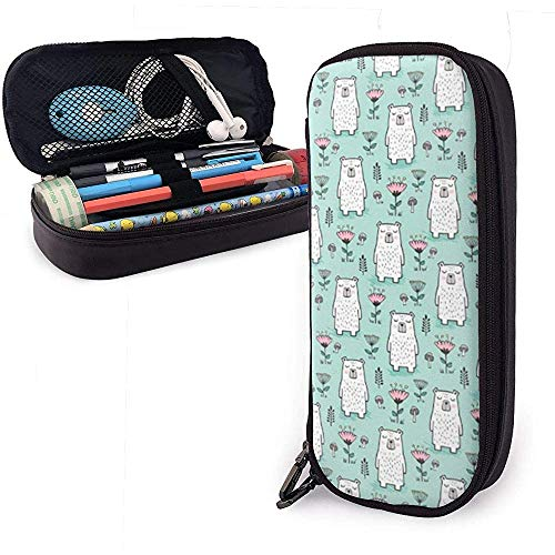 Bear Flower Pen Case Big Capacity Pencil Bag Makeup Pouch Durable Students Stationery with Double Zipper