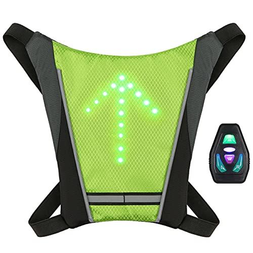 Lixada Chaleco de Ciclismo Mochila Reflectante Recargable USB con LED Intermitente Control Remoto Equipo de Seguridad para Ciclismo Correr Caminar Trotar