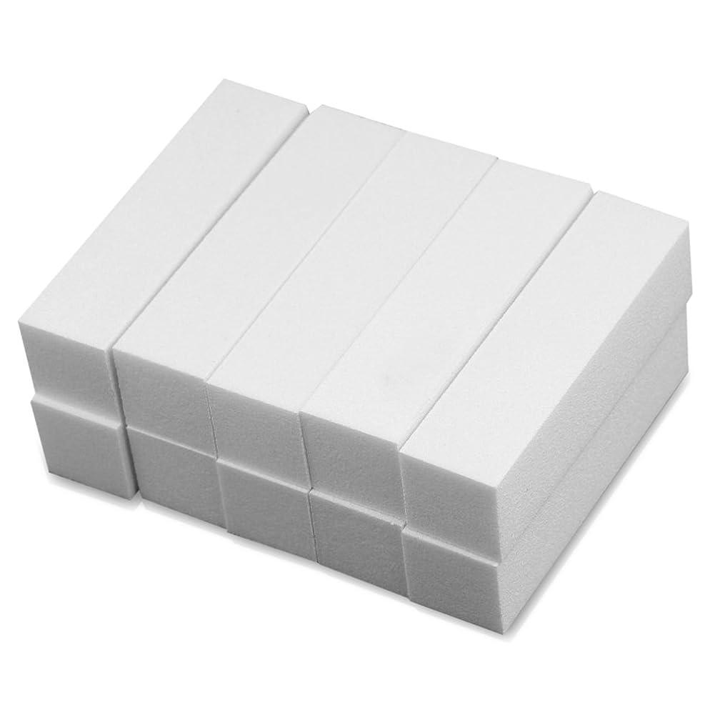 平手打ち忠実なのれんRefaxi 10倍の白いバッファバフブロックサンディングファイルアクリルネイルアートのヒントマニキュアツール