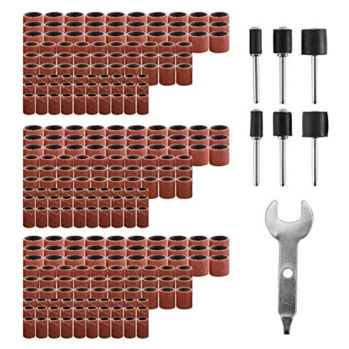 Tysun 307 Pcs Sander Drum Kit, 300 Pcs Sanding Drum Sleeves(80 120 240 Grits) with 6 Pcs Drum Manrels and 1 Pc Combination Wrench for Dremel Rotary Tool