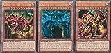 Yu Gi Oh Juego de cartas de dioses egipcios – Gods – Slifer del dragón celestal (LDK2-DES01), obelisco de los Peiniger (LDK2-DES02), el dragón alado de Ra (LDK2-DES03) – alemán