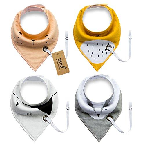 iZiv 4er Set Baby Bandana Geifer Lätzchen mit Justierbarem Druckknöpfen Schnuller Clip, Wasserdichte Baumwolle Auskleidung für 0-2 Jahre (Farbe-2)