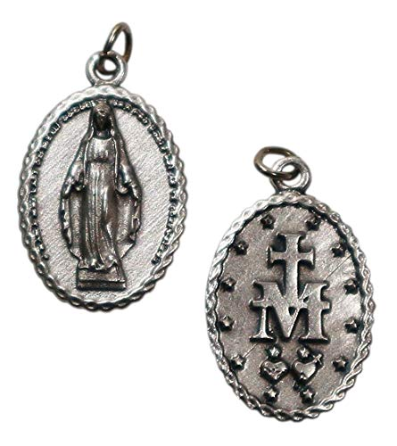 Eurofusioni Medalla chapeada Plata Virgen Milagrosa - 10 Piezas