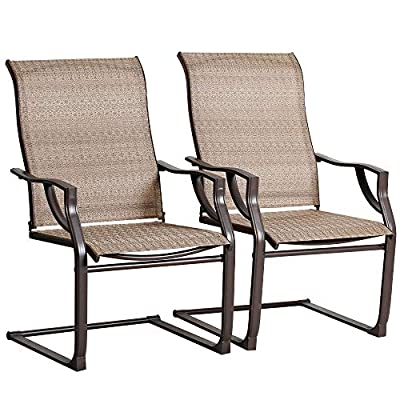 Bali Outdoor All-Weather Spring Motion Teslin Patio Dining Chairs Set of 2 for Outdoor Lawn Garden Backyard