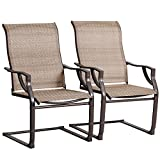 Bali Outdoor All-Weather Spring Motion Teslin Patio Dining Chairs Set of 2 for Outdoor Law...