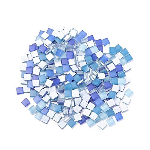 SUPVOX 300 Pezzi Tessere di Mosaico Pietre di Mosaico di Cristallo Piastrelle di Vetro Artigianato per cornici Fai da Te Piatti Artigianali Blu