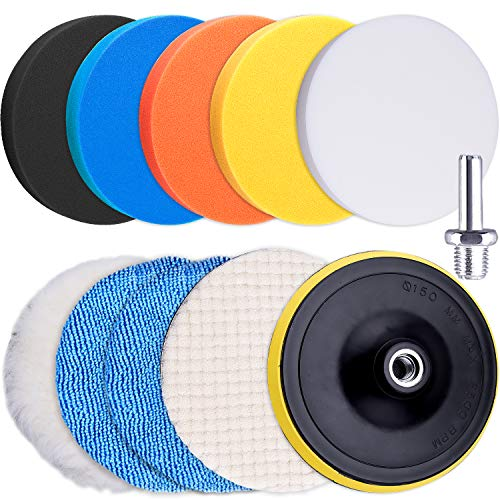SIQUK 11 Pieces Buffing Pads 6 Inch Car Polishing Pad Kit Foam Polish Pads Car Polisher Attachment for Drill