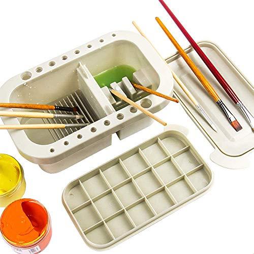 Lavamanos de pinturas, 3 en 1, bote limpiador de pinceles con soporte para cepillo y paletas de mezcla para acuarela y pintura al óleo