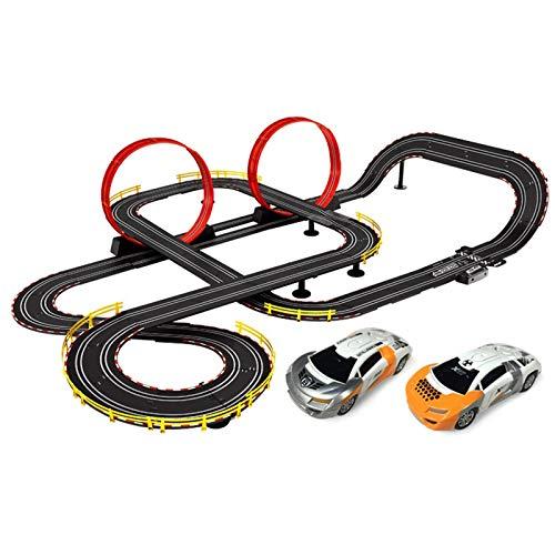 LINGLING Slot Car Vehicle Race Sets Track Racing Control Remoto eléctrico Coche de ferrocarril para niños de 8 años Pista de Juguete Niño Doble interacción Padre-Hijo