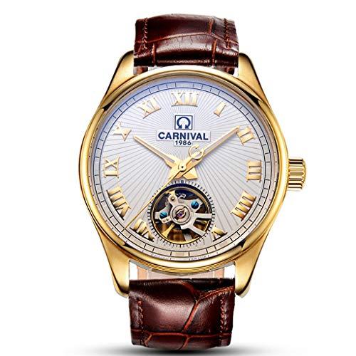 Reloj para hombre Reloj mecánico automático Tourbillon, esfera blanca, esqueleto, reloj analógico,...