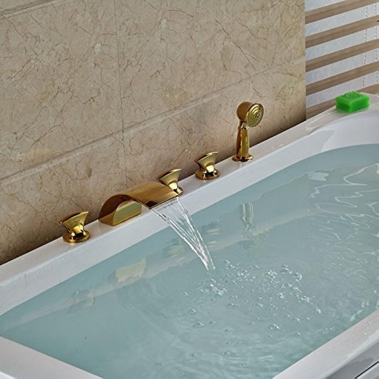 Wide Spread golden Brass Glass Waterfall Faucet Mixer Glass fillers Mount Bridge + Hand Shower