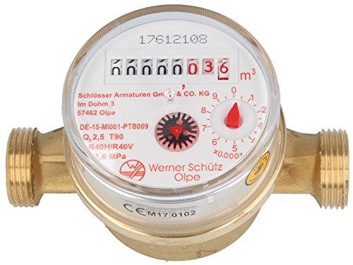 SCHÜTZ Wohnungs- Einstrahl-Wasserzähler Q3 - R 40 mit aktueller Eichung (Warmwasser 130 mm x 3/4 Zoll)