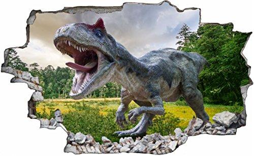 DesFoli T-Rex Dinosaurier Dino 3D Look Wandtattoo 70 x 115 cm Wanddurchbruch Wandbild Sticker Aufkleber C566