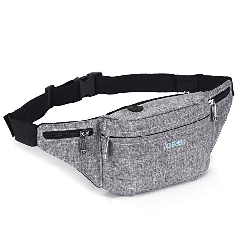 LOKASS Fanny Pack Night Glowing Rainbow Waist Chest Bag Belt Pouch Unisex Chest Shoulder Pack for Women/Men/Running/Hiking/Fitness/Cycling/Beach/BTS Concerts/Travel (Gray)