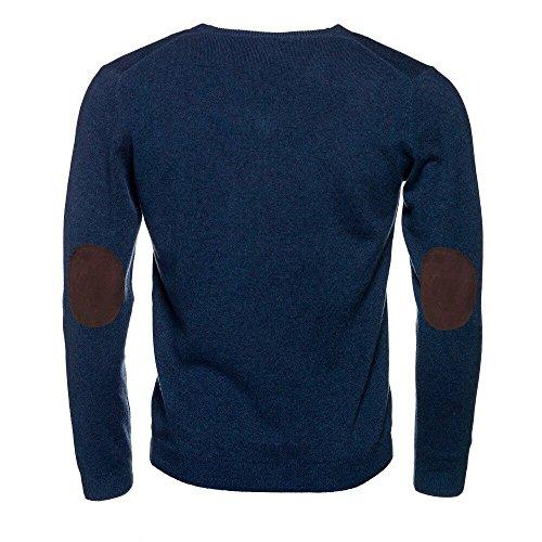 ALLBOW MŠnner - Jersey para hombre con parches en los codos, cuello redondo, color azul marino Azul con parches marrones XL