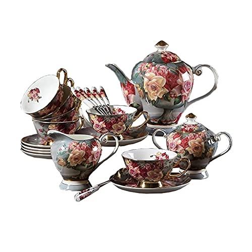 Juego de 15 tazas de café reutilizables con taza de té, diseño clásico de rosa, taza de café de cerámica con platillo y cuchara, apto para el hogar, juego de té cafetera TNSYGSB