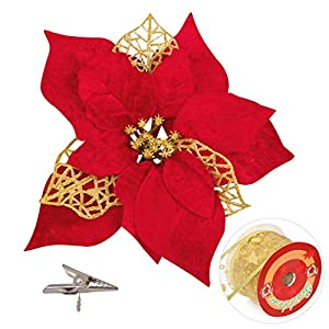 luck sea 20 Pieces Christmas Poinsettia Artificial Flowers Decorations &20 Clips &11 Yard Ribbon – Xmas Party Tree Wreath Ornaments Glitter