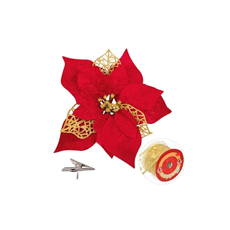 silk flower arrangements luck sea 20 pieces christmas poinsettia artificial flowers decorations&20 clips &11 yard ribbon - xmas party tree wreath ornaments glitter