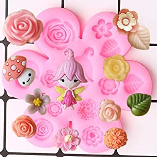 Cake Molds - Fairy Garden Mold Girl Silicone Molds Rose Leaf DIY Birthday Cake Decorating Tools Chocolate Candy Moulds Jew...