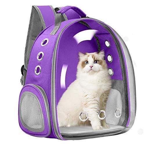 Vailge Mochila para mascotas, perros, gatos, mochila de espacio, portátil, bolsa de transporte para mascotas, viajes, transpirable, para gatos, perros pequeños (morado)