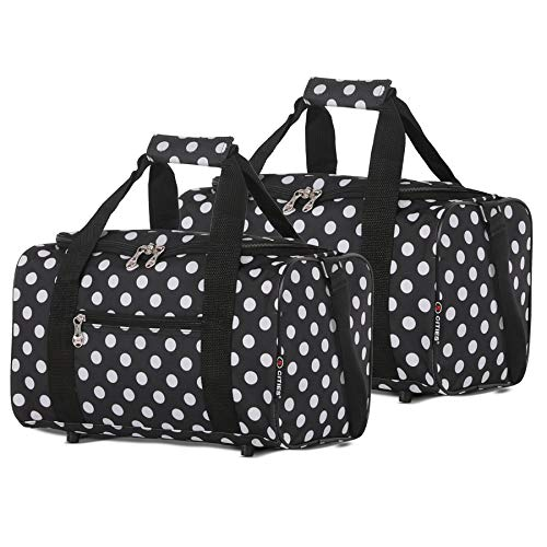 5 Cities 40x20x25 Ryanair Maximum Sized 2021 Under Seat Cabin Holdall Travel Flight Bag – Take The Max on Board! (Set of 2 Black Polka)