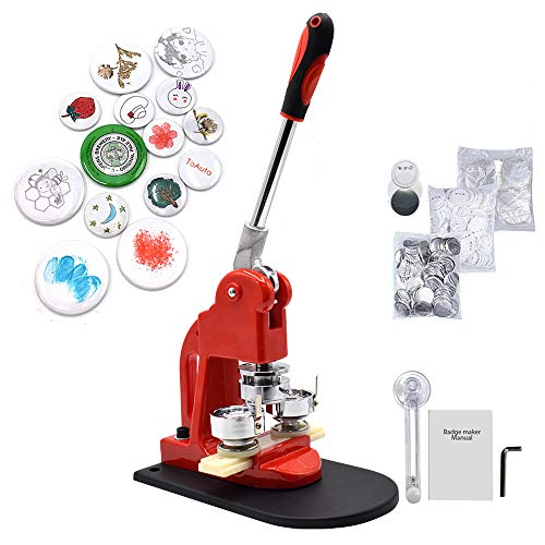 Button Maker Machine 37mm 1.5 inch Button Badge Maker Pins Punch Press Machine Aluminum Frame 300pcs Free Button Parts + Circle Cutter (37mm 1.5inch)
