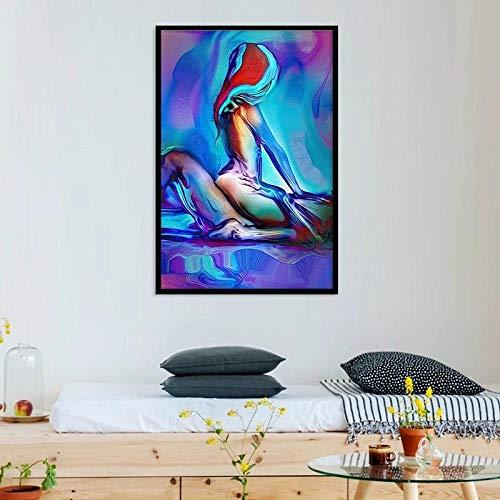 LLXXD Nordic Men & Women Canvas Painting Abstrakte Poster und Drucke Schlafzimmer Nachttisch Wandkunst Decora Gemälde Bilder-60x80cm (kein Rahmen)