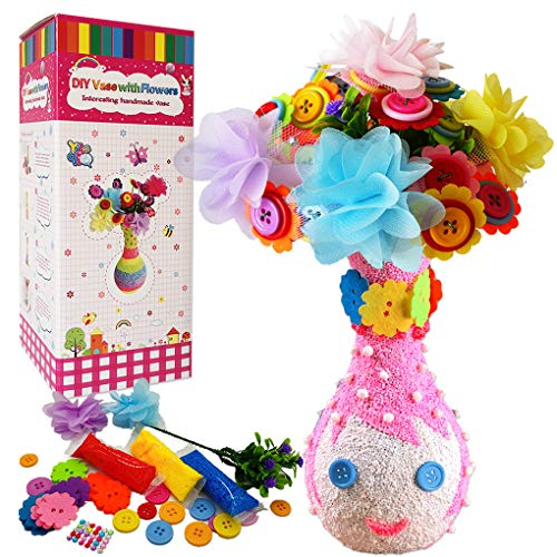 Yileqi Flower Kit for Kids Crafts and Arts Set, Kids Vase and Felt Flowers Crafts for Girls Age 4 6 8 9 10 12 Years Old, DIY Flower Activities Kit for Kid Girl Craft Supplies Party