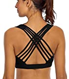 YIANNA Sports Bras for Women - Medium Support Strappy Sports Bra Padded for Yoga, Running, Fitness - Athletic Gym Tops,YA-BRA147-Black-L