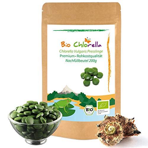 💚 Chlorella Presslinge Bio 200g - Jetzt Laborgeprüft - 500 natürliche Chlorella Vulgaris Tabletten ohne Zusätze, Bio Algen In Rohkostqualität -2 Monatspackung