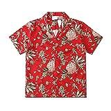 HDDNZH Camicia Hawaiana da Uomo - Pianta di Ananas Rosso Stampa Blusa Aloha A Manica Corta, Summer Lapel Vintage Street Male Top Camicie per Unisex Holiday Party Clothes,M