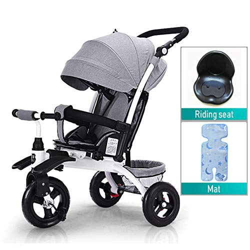 WWSC 3 IN 1 Kinder Easy Steer Dreirad Buggy Kinderwagen mit Oxford-Tuchpedal Multifunktions-Vorderrad Baby kann...