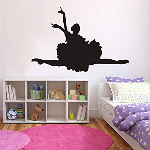 WERWN Calcomanías de Pared para niña de Ballet Bailando Deportes Belleza Silueta Vinilo Pegatinas para Ventanas niños niñas Dormitorio Sala de Baile decoración de Interiores