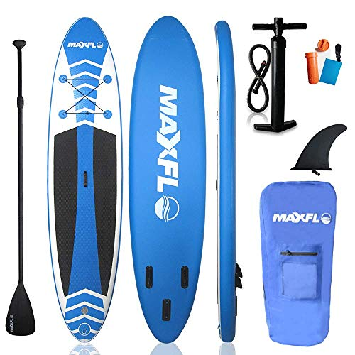 """Inflatable Stand Up Paddle Board 10'6"""" Long & 6"""" Thick with Premium SUP Accessories & Carry Bag   EXTRA Wide Stance, Bottom Fin for Paddling, Surf Control, Non-Slip Deck   Youth & Adult Standing Boat"""