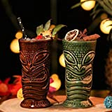 2 tazze Tiki, simpatici bicchieri da cocktail esotici divertenti tazze in ceramica - Tiki bar professionale drinkware - Hawaiian Party Barware - Ottima idea regalo per la casa (550 ml)