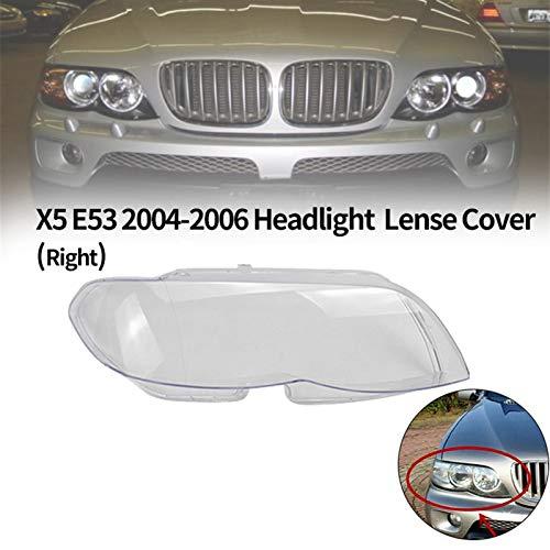 Cubierta faro de coche, 1pcs la linterna del coche cubierta de la lente (derecha) Faro cabeza de la lámpara de luz de Lense Claro cubierta de la lente for B-M-W X5 E53 2004-2006 Accesorios de coche