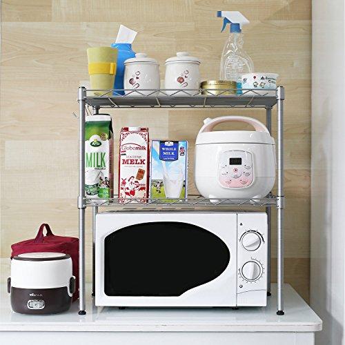 HOMFA Kitchen Microwave Oven Rack Shelving Unit, 2-Tier Adjustable Carbon Steel Storage Shelf