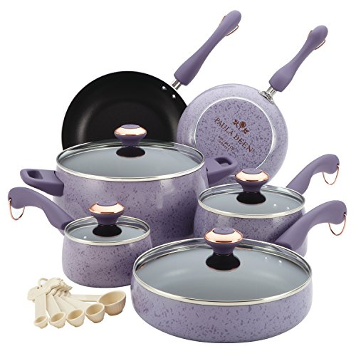 Paula Deen 13064 Signature Nonstick Cookware Pots and Pans Set, 15 Piece, Lavender Speckle