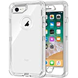 iPhone 8/7 / 6 Case, 3 in 1 Hybrid Heavy Duty Defender Case [Shock Proof] Crystal Clear Protective Hard Shell Shockproof Bumper Cover for iPhone 8/7 /6 (Transparent)